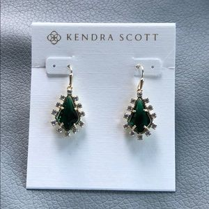 Kendra Scott Juniper Gold earrings emerald green